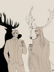 Dr. Lecter and Elvenking Thranduil. by Vanshound