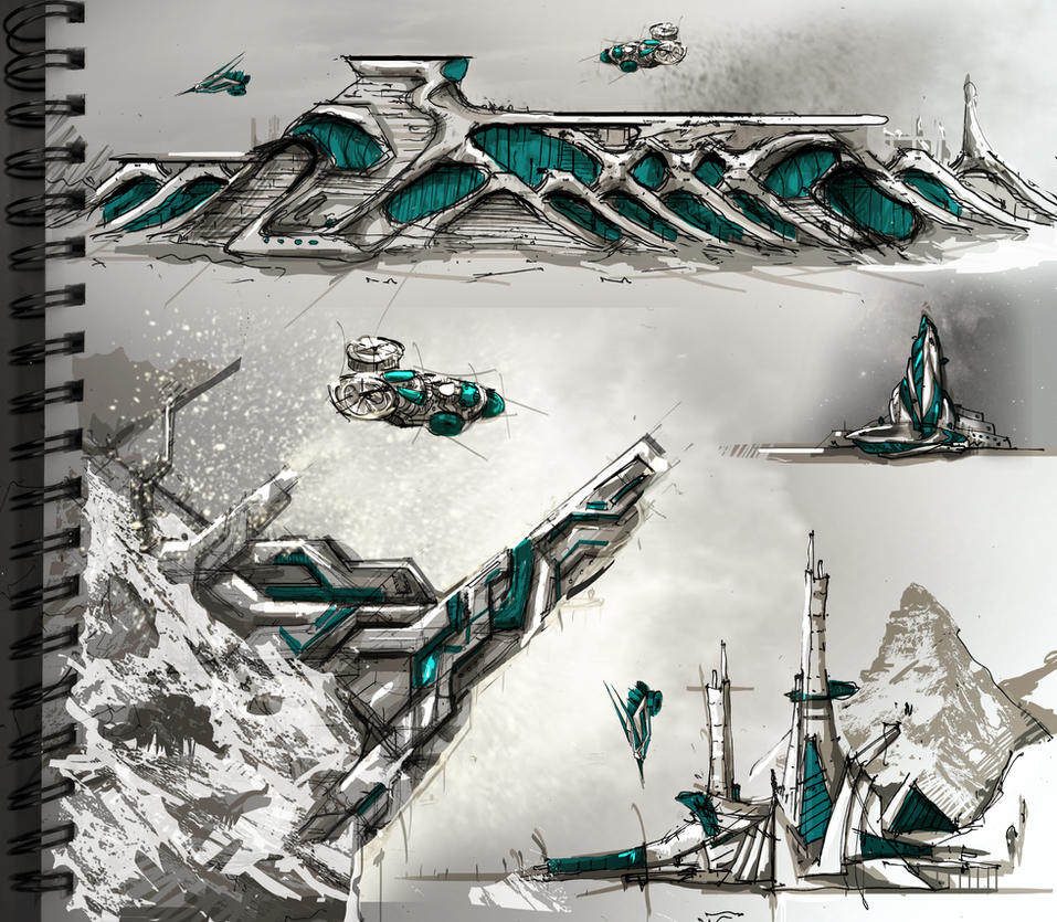 Sci-Fi Architecture Sketches 2 by Meanor