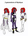 3 generations of Mystique by xero87