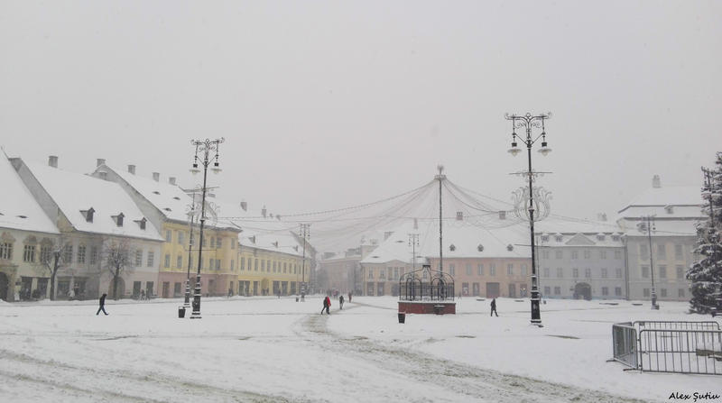 Snow over the Plaza by RavenNightWish