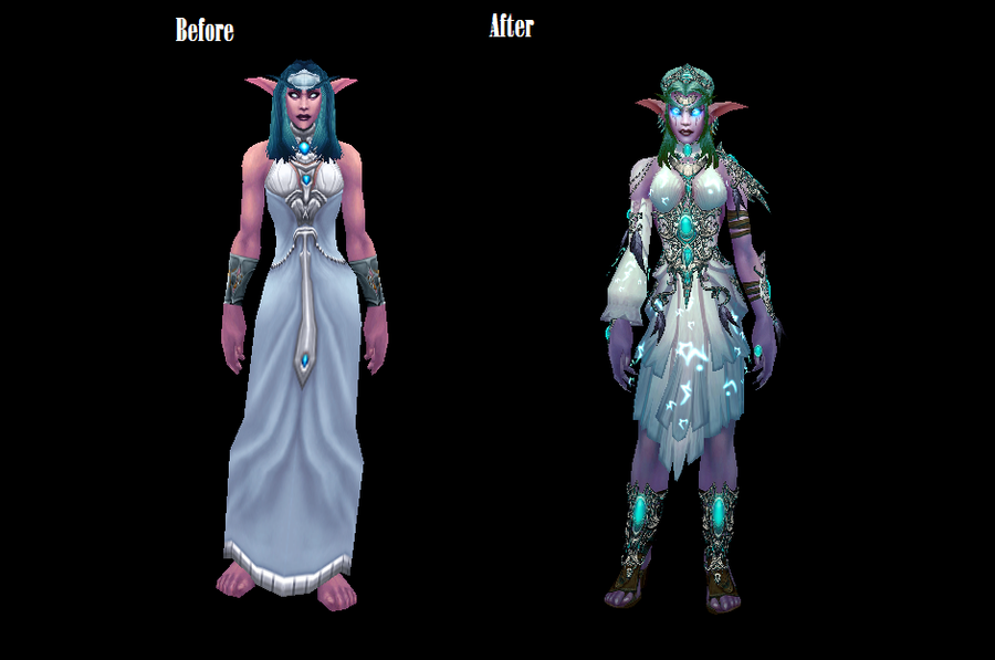 Tyrande Whisperwind Before And After By MewMewFrostElf