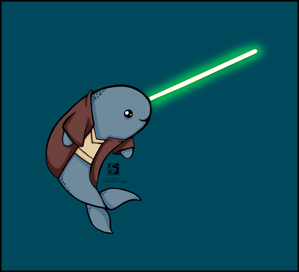 Jedi narwhal by erionix on deviantart - Cute narwhal wallpaper ...