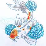 Koi with Roses by scarletkk