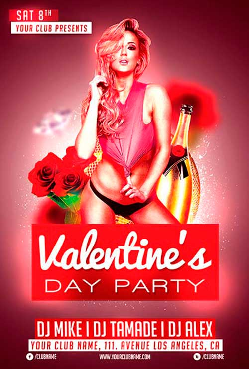 Free Valentines Day Club Flyer Template by AwesomeFlyer