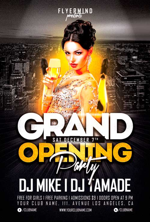 Free Grand Opening Party Flyer Template Vol.1 by AwesomeFlyer