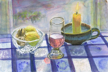 Still life w candle watercolor by Starsong-Studio