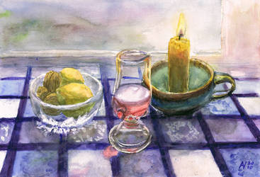 Still Life with candle take 2 by Starsong-Studio