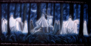The Passing of the elves royal procession by Gwillieth