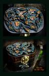 Celtic Oak leaf Carnelian stone jewelry box