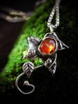 Elven leaf Carnelian silver pendant