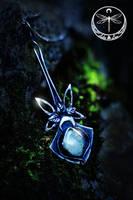 Water Spirit silver Talisman with Aquamarine by Gwillieth