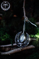 Charm of Allurement Silver Talisman with Moonstone by Gwillieth