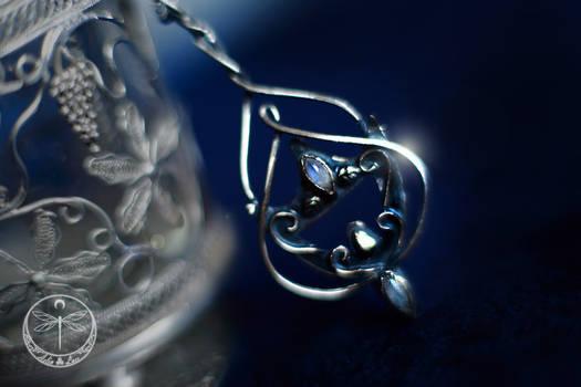 Lunaria Celtic silver Talisman with Moonstones