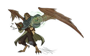 [Commission] Aaracokra Wind Wizard by Skyserpent