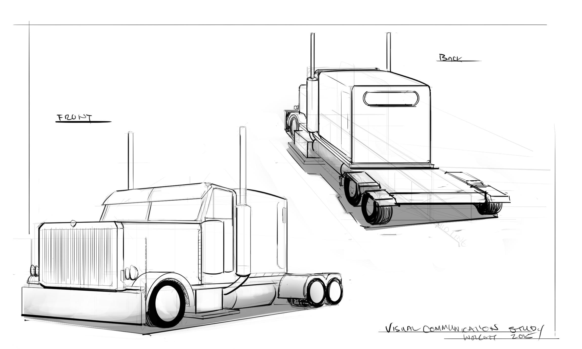 Semi Truck Drawings Semi Truck Draw Through