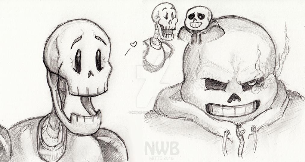 Skeleton bros in pencil by mitani-chan