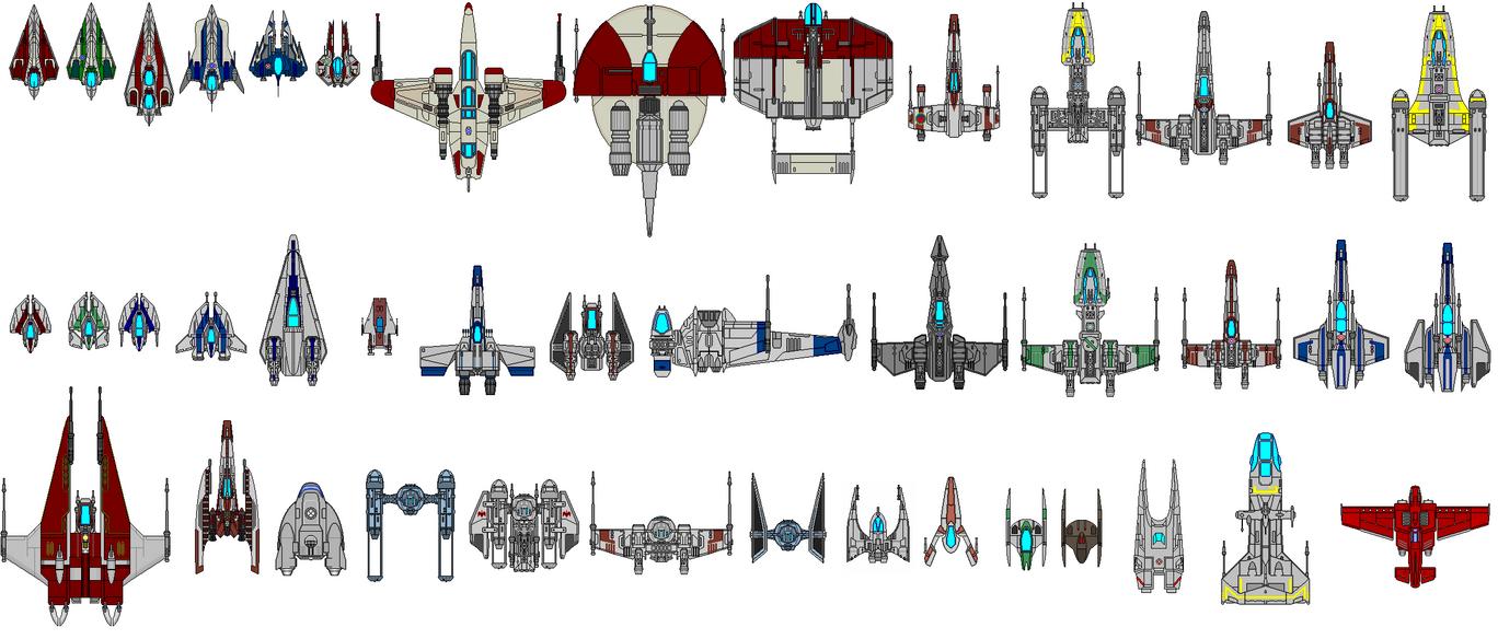 Star Wars Universe Fighters by kavinveldar