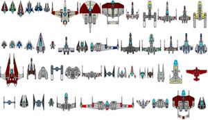 Star Wars starfighters by kavinveldar