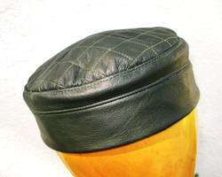 Quilted Kufi Hat in Soft Green Leather by LeatherHead72