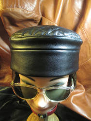 Black Leather Quilted Top Kufi