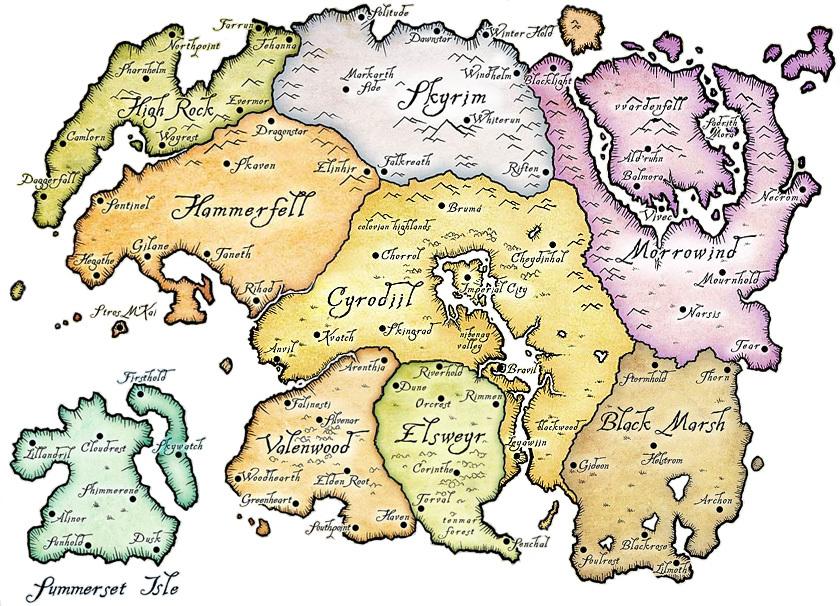 ElderScrolls world Map by h311Man on DeviantArt