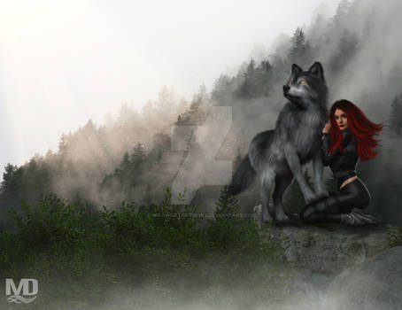 Girl and Wolf on a Misty Mountain