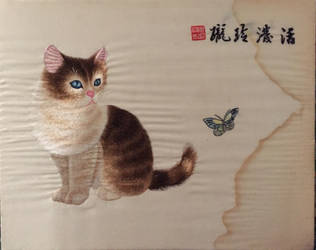 Silk Embroidery Cat by Missilekite