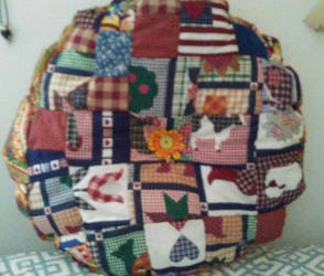 Country Patchwork Quilted Pillow by Missilekite