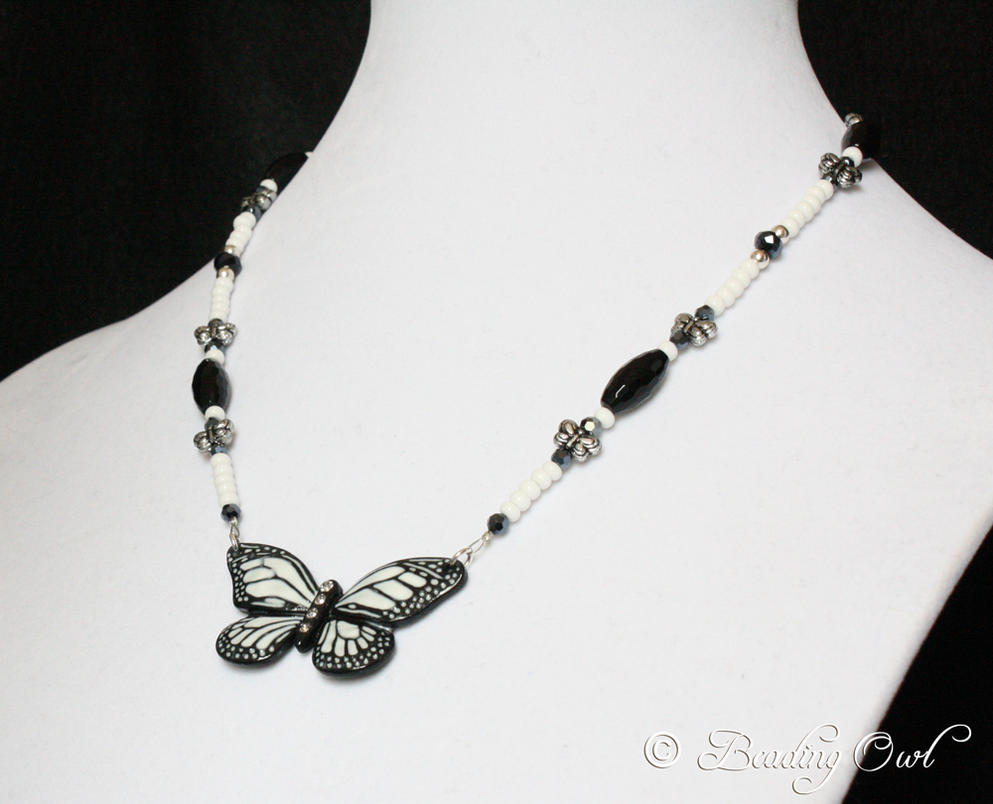 black and white beaded butterfly necklace by beadingowl on