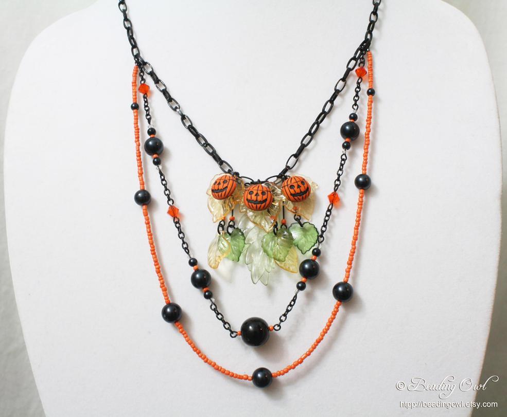Halloween Jewelry - Pumpkin Patch Necklace by BeadingOwl on DeviantArt