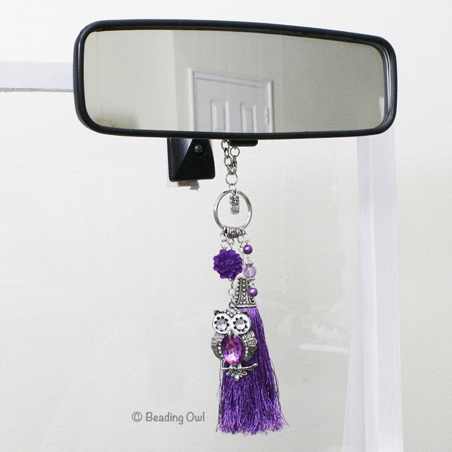 Purple Owl Rear View Mirror Tassel Charm by BeadingOwl