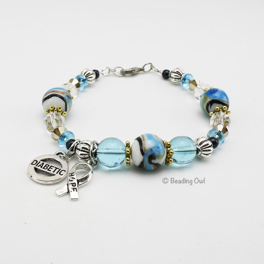 Medical Alert Bracelet, Diabetic Aqua Blue Bracele by BeadingOwl