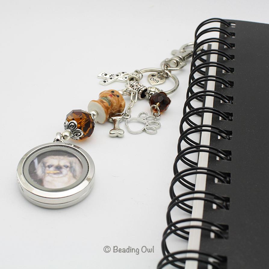 Pet memorial keychain, photo locket by BeadingOwl