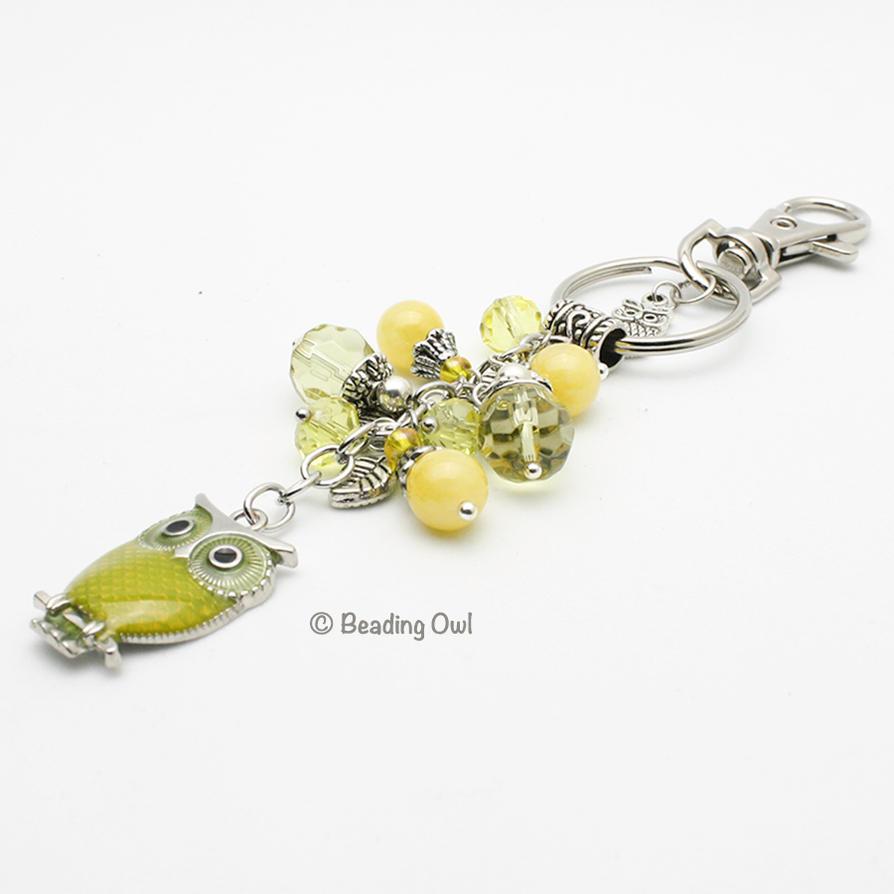 Yellow Owl keychain by BeadingOwl