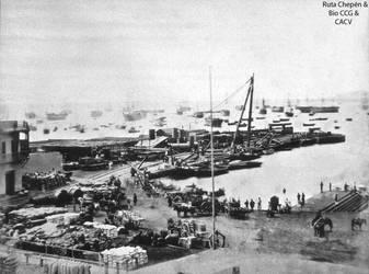 1863 (0c1) 1866 El  Muelle del Callao antes de Com by Chepen-Ruta