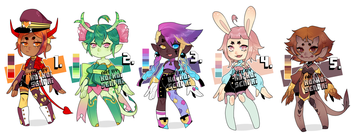 (CLOSED) color palette adopts! by KoiKoiSenpai