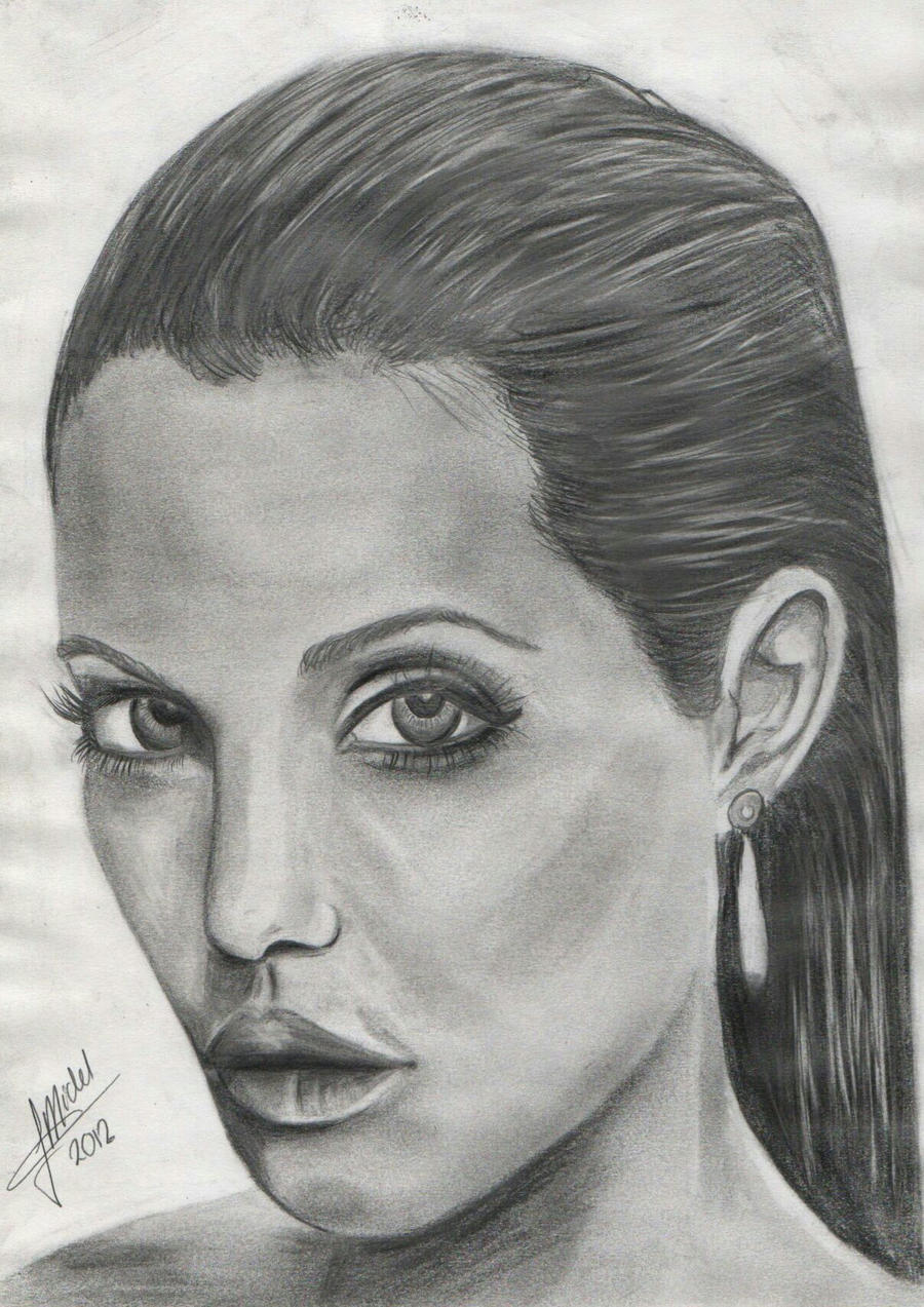 Drawing  Angelina Jolie  Portrait By Michelkaptijn