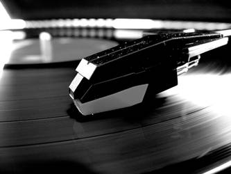 black and white record player by softspokenmc