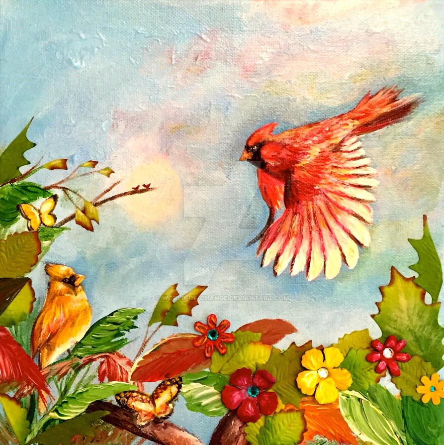 Acrylic Paintings Of Bird Of Paradise