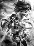 Mikasa y Eren (titan) - SNK