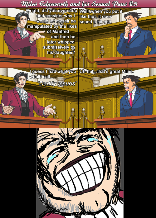 Miles Edgeworth and His Sexual Puns #5[SPOILERS] by DarkMatter89