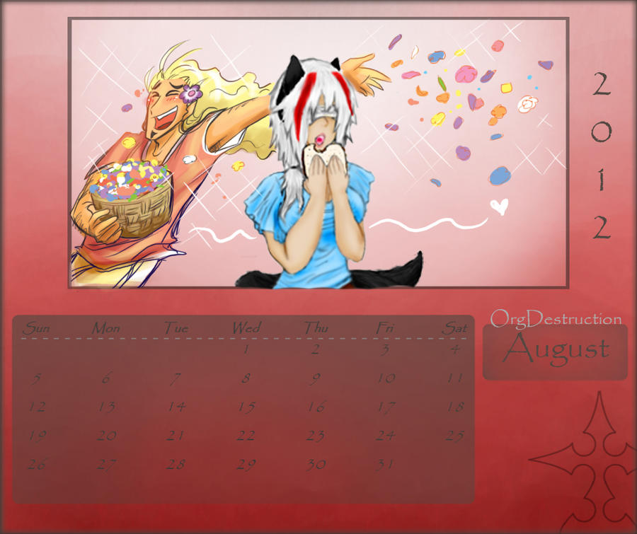 August Calender: Blaunx and Xinorv by lupitard