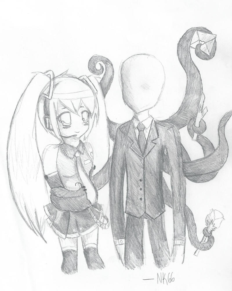 Miku and Slendy... ewe by K0MPY
