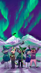 Arctic Fight: Northern Lights by Anolee