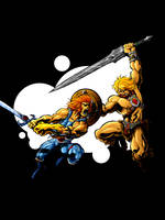 Lion-O vs He-Man by monito