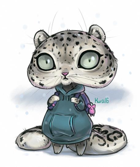 Chibi Snow Leo by Kuroi-kisin