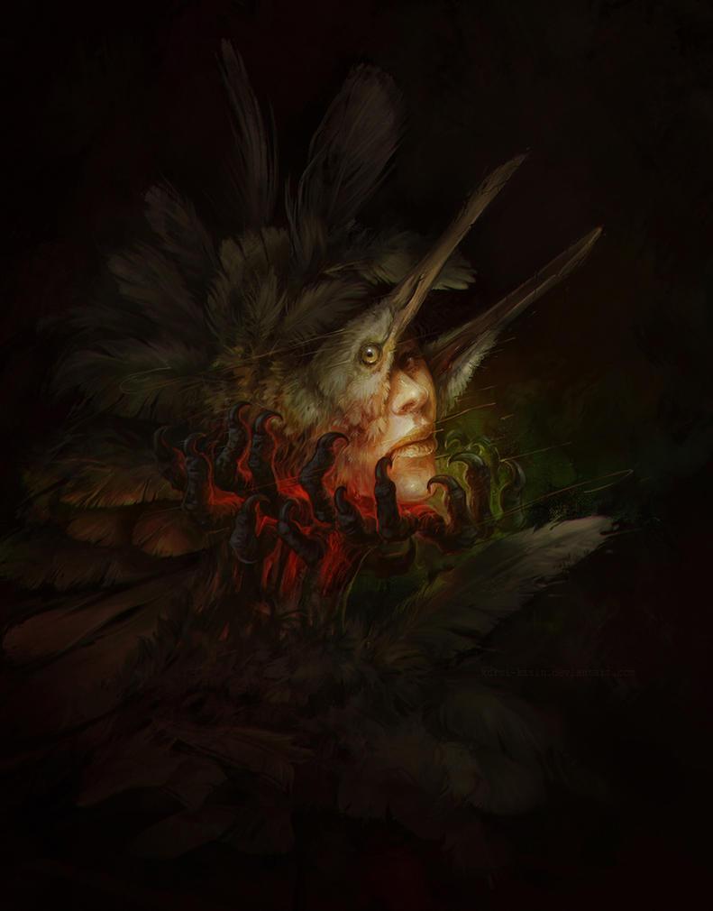 Heron lady by Kuroi-kisin