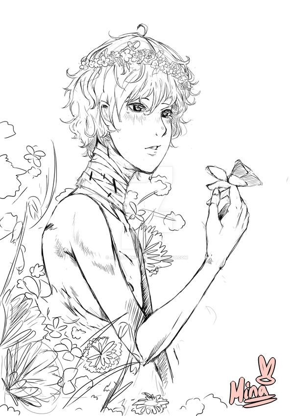 Flowerboy-kun with a Butterfly-chan, woooooooh! by ArtistMinChen