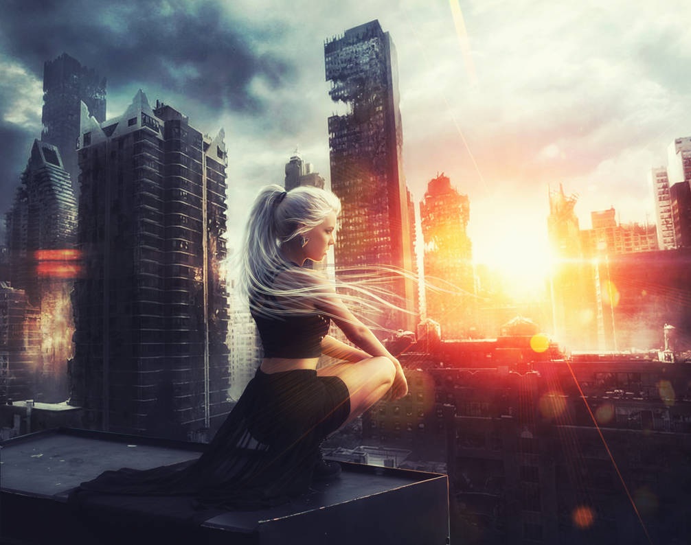 Photoshop Tutorial. A girl in a ruined city