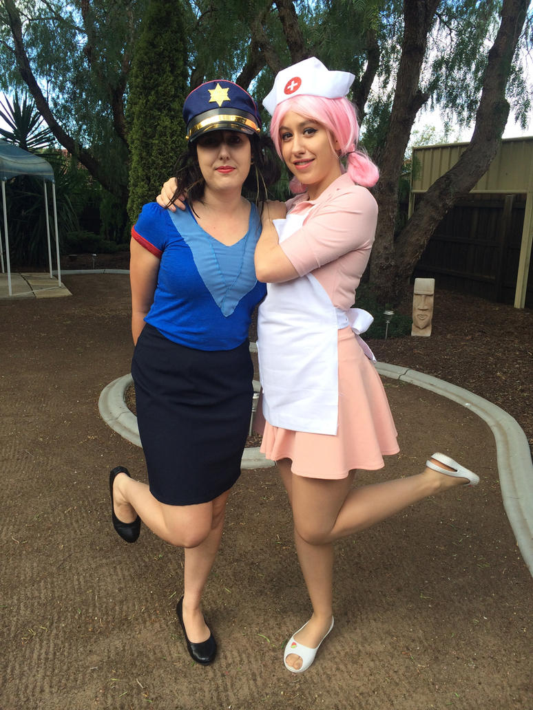 Nurse Joy and Officer Jenny by SamiEggPower